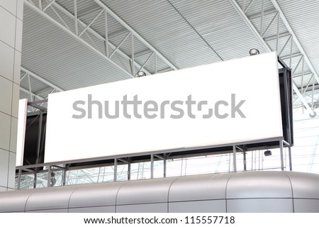 huge Blank Billboard with empty copy space in airport (path in the image), shot in china, Guangzhou airport - stock photo