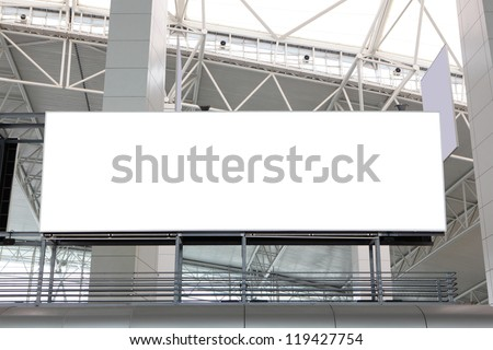 huge Blank Billboard with empty copy space in airport, shot in china, Guangzhou airport - stock photo