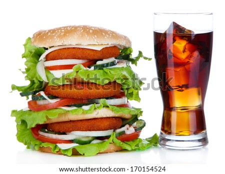Huge burger and glass of cold drink, isolated on white