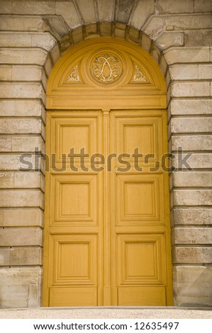 Huge classical antic door made of wood with many ornaments : antic door - pezcame.com