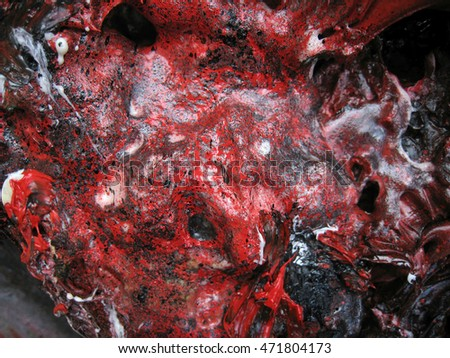 Huge close up detail photography of brilliant silicone, ink and black and red oil and acrylic paints