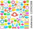 Huge collection of colourful 3d labels and buttons in different shapes - stock vector