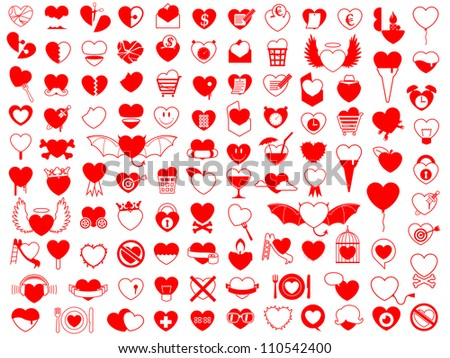 Huge collection of heart icons - stock photo