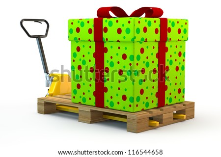 Huge colorful gift on pallet on a forklift truck - stock photo