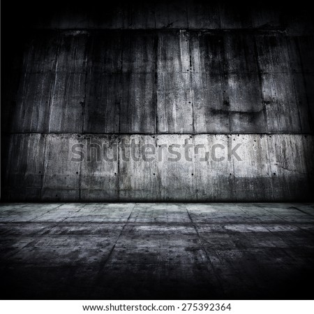 Huge concrete room or compound. - stock photo
