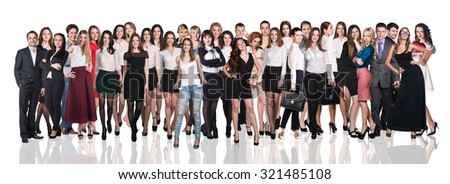 Huge crowd of business people on the white background - stock photo