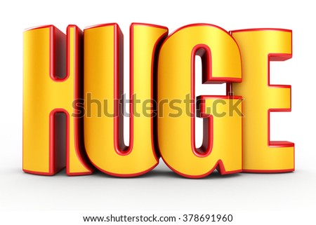 Huge 3d text isolated over white background - stock photo