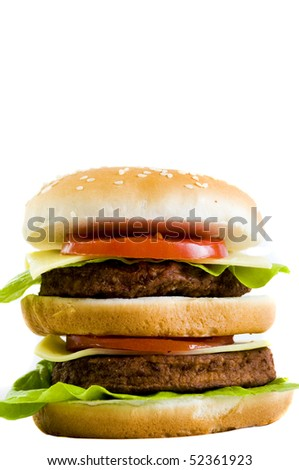 huge double cheeseburger, on white background