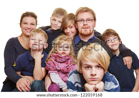 Huge family portrait with parents and six kids - stock photo