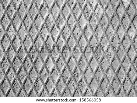 huge grey heavy metal grill and rusty iron diamonds - stock photo