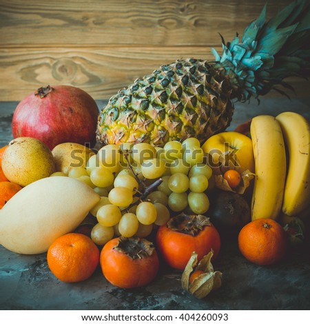 Huge group of fresh exotic fruits