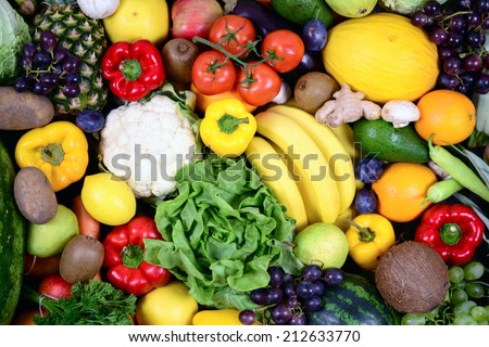 Huge group of fresh vegetables and fruit - High quality studio shot - stock photo