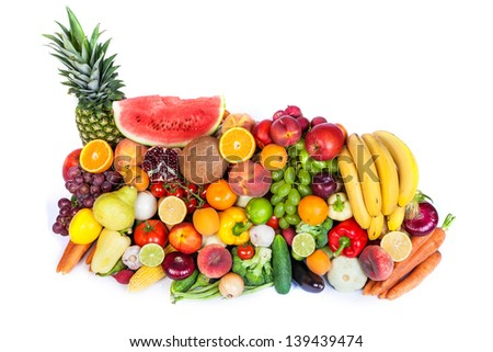 Huge group of fresh vegetables and fruits isolated on a white background. Shot in a studio