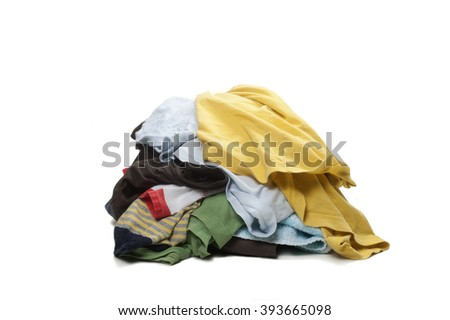 huge hill of dirty clothes - stock photo