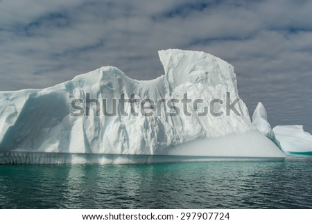 Huge iceberg melting in ocean close to Antarctica