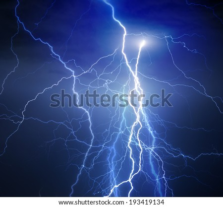 Huge lightnings during heavy summer storm. - stock photo
