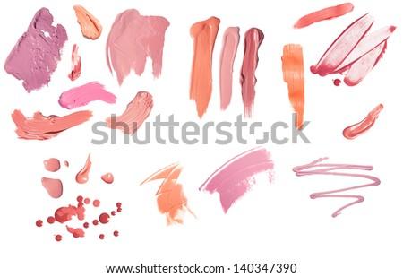 Huge liquid blush set isolated on a white - stock photo