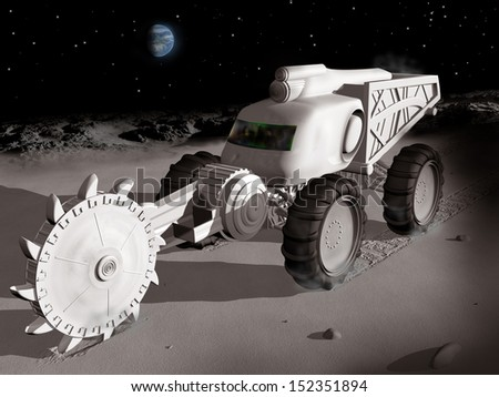 Huge lunar excavator exploiting  resources on the moon - stock photo