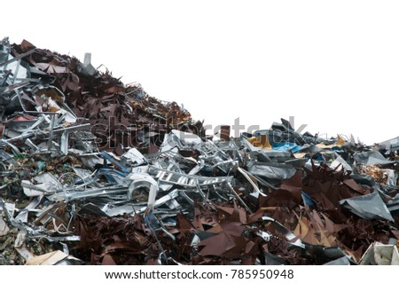 Huge mountain of various discarded metal isolated on white background