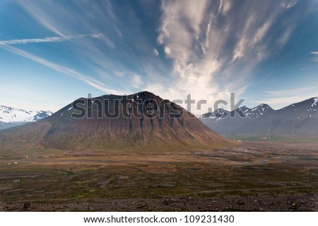 huge mountains in Iceland in wonderful light in evening