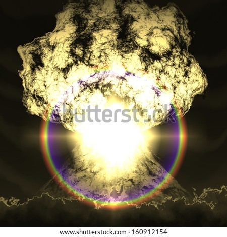 Huge nuclear explosion over land - stock photo