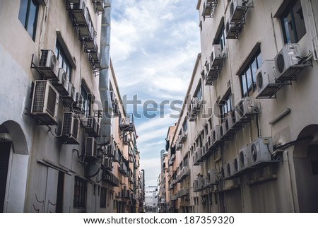huge number of aircon units - stock photo