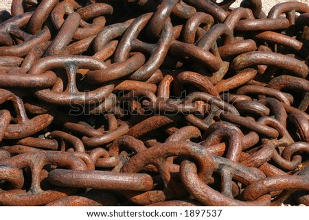 Huge old rusty anchor chain - stock photo