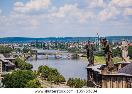 Huge panorama of Dresden, Germany. Cityscape. Skyline - stock photo