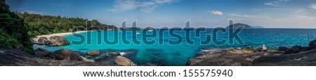 Huge Panorama of Perfect Tropical Island beach and rocks with turquoise sea at Similan Marine Park. Thailand, South East Asia.