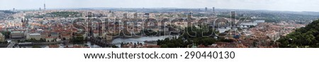 Huge panoramic view of the city of Prague, Czech Republic - stock photo