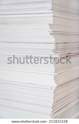 Huge paper stack close-up