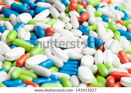 Huge pile of drugs, many different pills and tablets