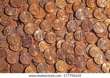Huge pile of the US coins - stock photo