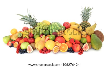 Huge pile of various ripe fruits. All on white background. - stock photo