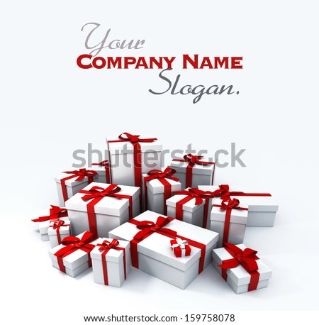 Huge pile of white gift boxes with red ribbons on a neutral background - stock photo