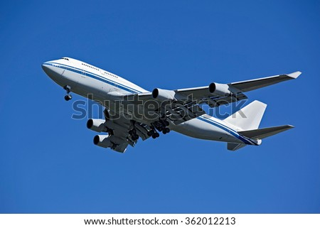Huge plane taking off in a blue sky closeup