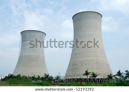 Huge power plant chimney chimney