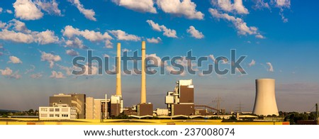 Huge Power station in Germany in summer day - stock photo