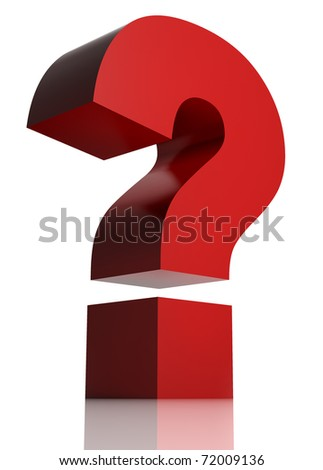 Huge red question mark isolated on white background. 3d