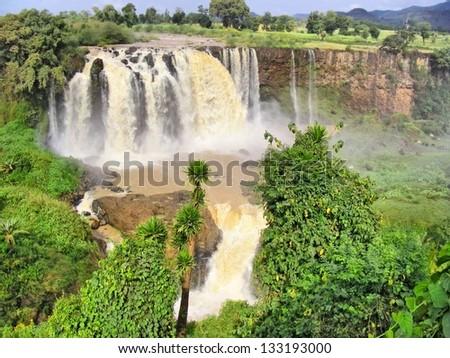 Huge river waterfall. Shot in Ethiopia. - stock photo