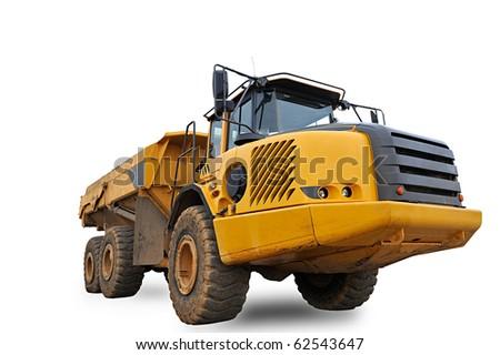 Huge Sand Dump Truck on white background - stock photo