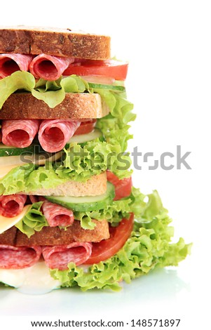 Huge sandwich, isolated on white