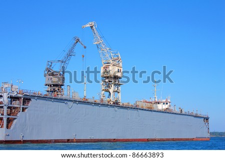 huge seaport cranes  in Kerch, Crimea, Ukraine