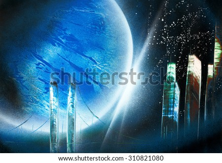 Huge-Size Resolution (9100x6300 pixels) Photo of Beautiful Abstract Space Painting (High Resolution) - stock photo
