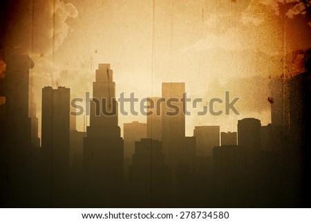 Huge Smoggy Metropolis in the Sunset Sunrise 3D artwork illustration vintage design - stock photo