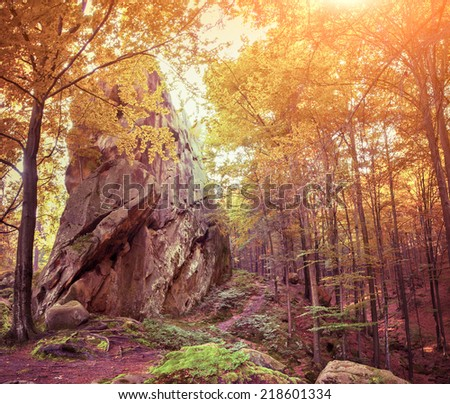 Huge stone in the autumn forest. Retro style. - stock photo