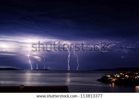 Huge storm and thunder on the island
