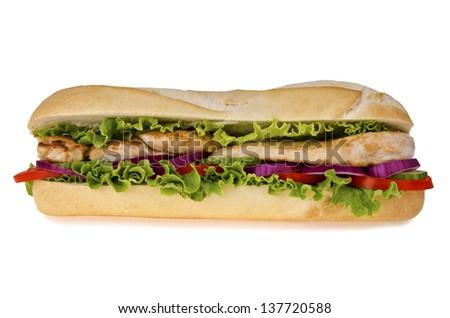 Huge sub sandwich isolated on white background. - stock photo