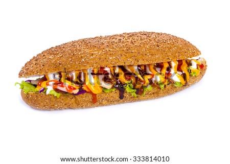Huge sub sandwich isolated on white background - stock photo