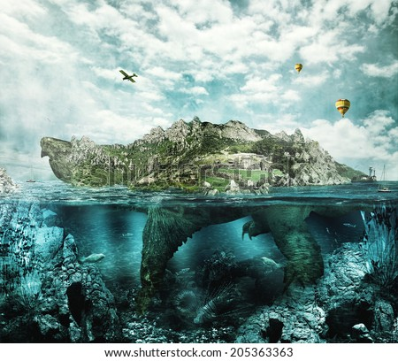 Huge turtle in ocean overgrown forests and mountains to the village and the castle in the shell floats like an island